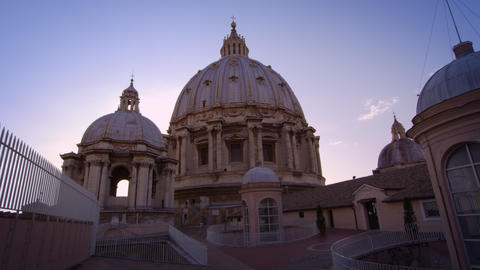 Low-angle shot of domes of St Peter's Basilica Footage