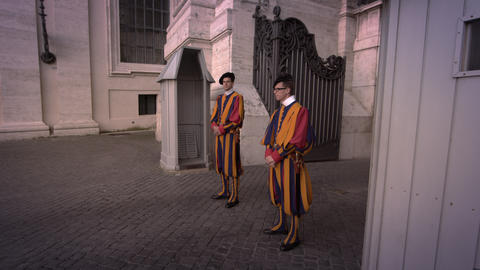 VATICAN CITY - MAY 2012 Two Swiss Guards of St Peter's Basilica May 8, 2012, in  Footage