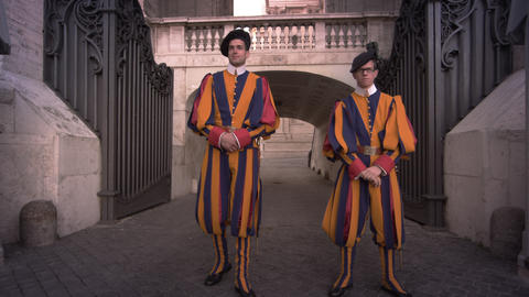 VATICAN CITY - MAY 2012 Swiss Guards stand at their post on May 8, 2012, in Rome Footage