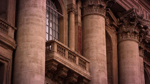 A balcony high on the facade of St Peter's Basilica Footage
