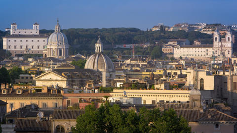 Trinita dei Monti, San Carlo al Corso and another dome from across the river Footage
