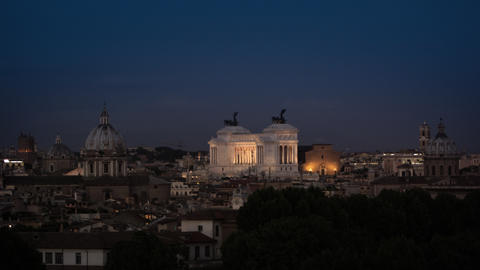 Evening footage of the monument to Victor Emmanuel II and surrounding buildings Footage
