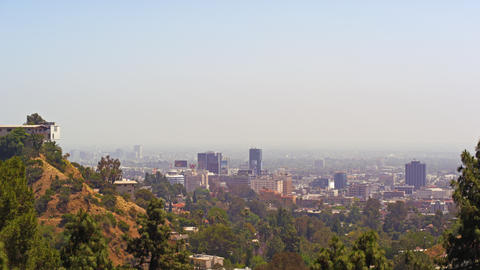 A view of the Los Angeles skyline Footage