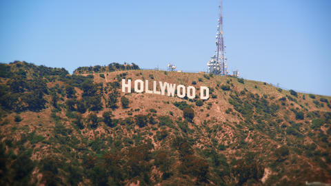 Long distance static shot of the Hollywood sign Footage