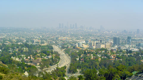 Panoramic shot of Los Angeles from Mulholland Drive Footage