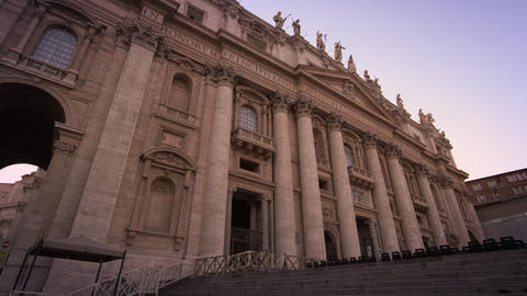Low angle footage of the entrance to St Peter's Basilica Footage