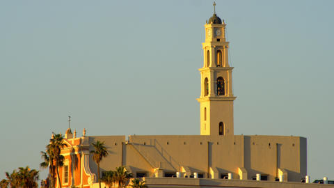 Stock Video Footage of the sunrise at St. Peter's Church, Jaffa, shot in Israel  Footage
