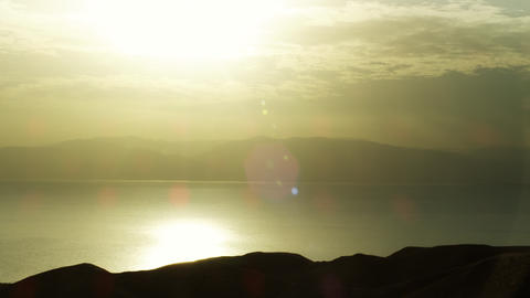 Royalty Free Stock Video Footage of a bright dawn at the Dead Sea shot in Israel Footage