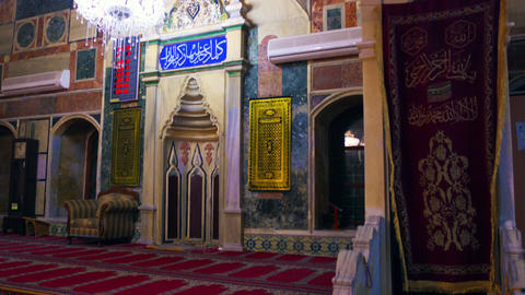 Royalty Free Stock Video Footage of mosque interior front wall shot in Israel at Footage