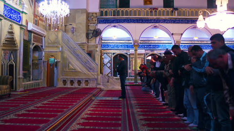 Royalty Free Stock Video Footage of praying at Jezzar Pasha Mosque filmed in Isr Footage