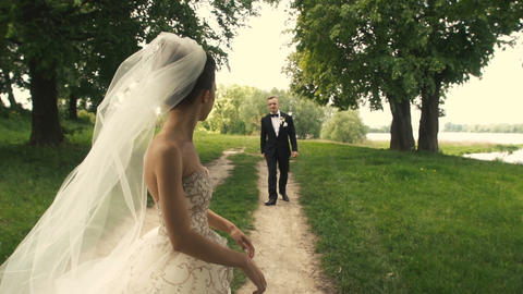 Wedding Bride and Groom Park Walk Live Action