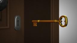 Key And Opening Door stock footage