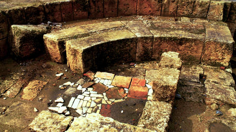 Royalty Free Stock Video Footage of bathhouse ruins at Agrippa Palace shot in Is Footage