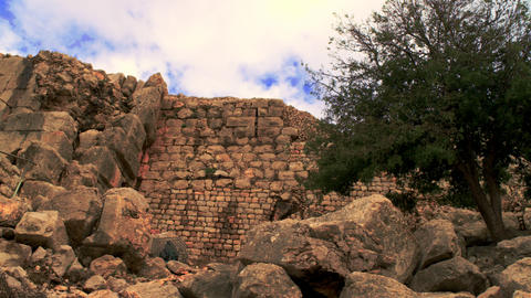 Stock Video Footage panorama of a Nimrod Fortress wall shot in Israel at 4k with Footage