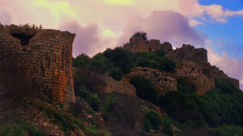 Stock Video Footage of colorful sky above Nimrod Fortress shot in Israel at 4k w Footage