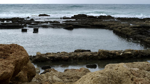 Stock Video Footage of ancient pool ruins at the Mediterranean shot in Israel at Footage