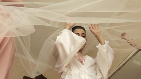 Wedding Bride Fun with Veil Footage
