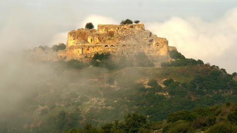 Royalty Free Stock Video Footage of Nimrod Fortress through fog shot in Israel a Footage