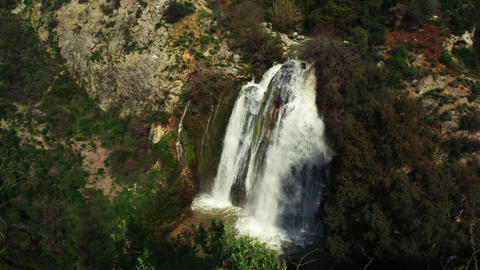 Royalty Free Stock Video Footage panorama of Tahana Waterfall shot in Israel at  Footage