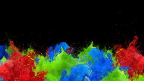 Color Burst - Multiple colorful smoke explosions fluid powder liquid gas particles slow motion alpha Animation