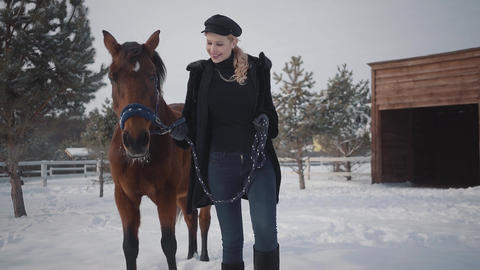 Pretty young woman walks with beautiful horse at winter ranch in snow. Young Live Action