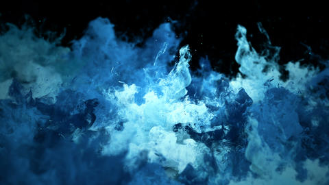 Color Burst - Multiple blue colorful smoke explosions fluid powder liquid gas particles slow motion Animation