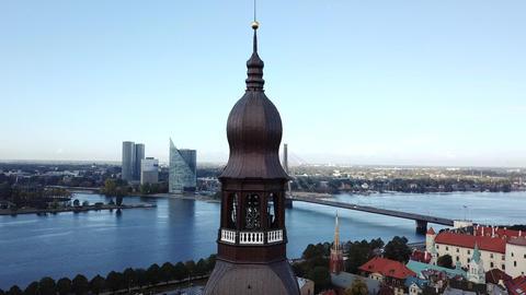 Famous ancient tourism center and modern european union metropolis aerial Footage