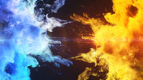 Color Burst - two blue yellow colorful smoke explosions fluid powder liquid gas particles slow Animation