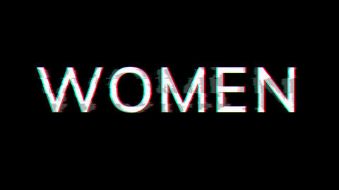 From the Glitch effect arises text WOMEN. Then the TV turns off. Alpha channel Premultiplied - Animation