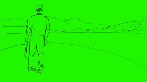 Golfer Swinging Golf Club Teeing Off Drawing 2D Animation Animation