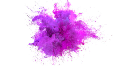 Magenta Pink Color Burst - colorful smoke explosion fluid particles slow motion alpha matte isolated CG動画