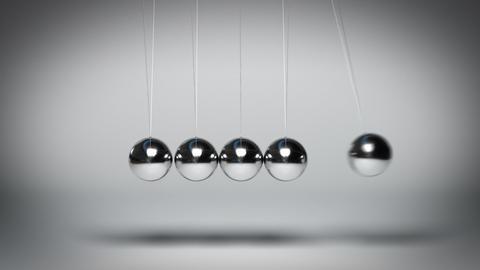 Bouncing Newton's balls against gray background seamless loop Animación