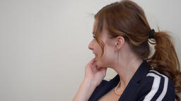 Portrait astonished woman laughing from surprise. Expression positive emotions Footage