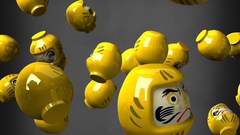 Yellow daruma dolls on black background CG動画