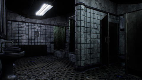 4K Abandoned Building Freaky Bathroom Block 3D Animation Animation