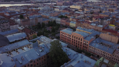 Old central city high point view, summer evening aerial view of Saint-Petersburg Footage