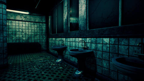 4K Scary Abandoned Building Bathroom 3D Animation Animation