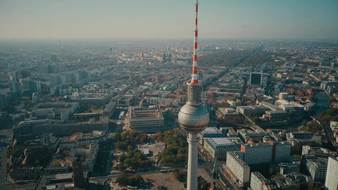 BERLIN, GERMANY - OCTOBER 21, 2018. TV Tower and city, aerial view Footage