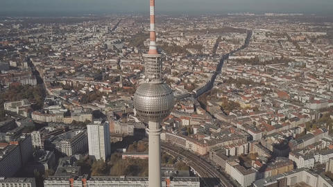 BERLIN, GERMANY - OCTOBER 21, 2018. Aerial hyperlapse of Berliner Fernsehturm or Footage
