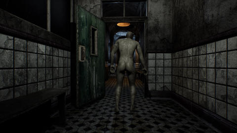 4K Naked Zombie Walking in Mental Hospital Cinematic 3D Animation Animation