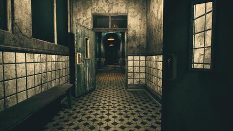 4K Spooky Abandoned Sanitarium Corridor Cinematic 3D…, Stock Animation