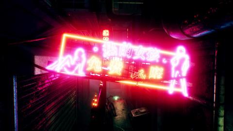 4K Cyberpunk Oriental City Back Alley Nightclub Neon Sign... Stock Video Footage