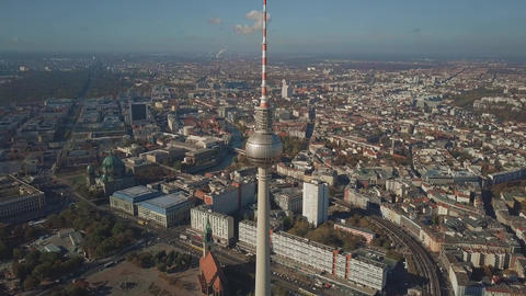 Aerial view of Berlin cityscape from Alexanderplatz, Germany Live Action