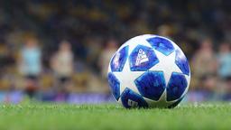 Official UEFA Champions League 2018/19 season matchball on grass GIF