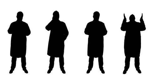 4K 4 Doctors Scientist Silhouettes Animation