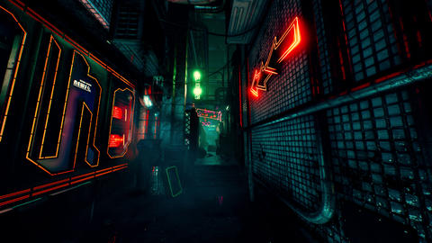 4K Cyberpunk Oriental City Back Alley at Night Static Shot Animation