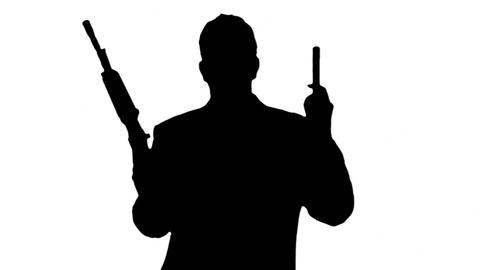 Man with Machine Gun and Pistol Silhouette 3 Animation