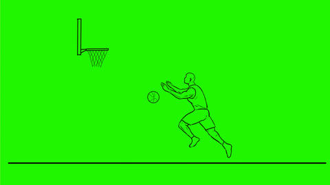 Basketball Player Dunking Ball Drawing 2D Animation Animation