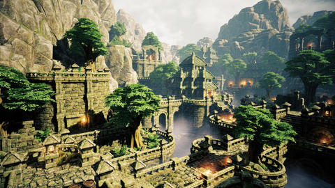 4K Ancient Mysterious Fantasy Town 3D Animation Stock Video Footage