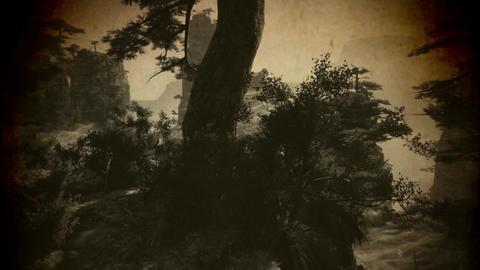 4K Cinematic Fairy Tale Fantasy Oriental Mountains Vintage Stock Video Footage